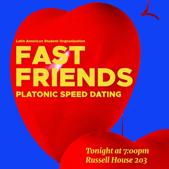 "A red heart shaped ballon on a blue background with the text ""Fast Friends, Platonic Speed Dating"""
