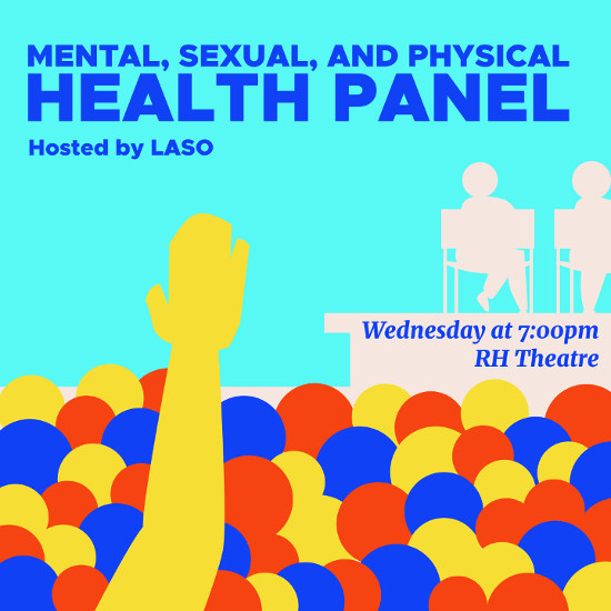 "Someone in a crowd of people raising their hand during a panel. The text reads ""Mental, Physical, and Sexual Health Panel"""