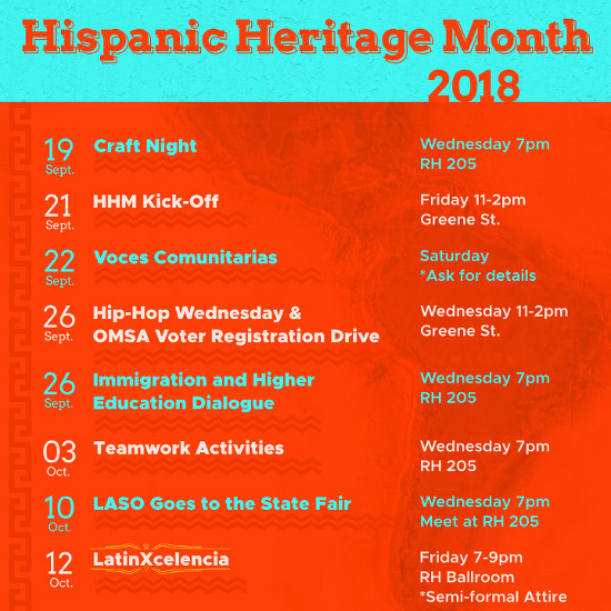 A calendar of events for Hispanic Heritage Month
