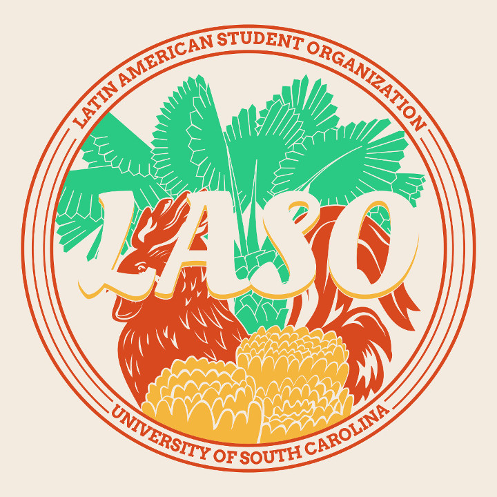 "A red rooster standing behind organge flowers and in front of a green palm tree. Wrapped around the objects are the words ""Latin American Student Organization - University of South Carolina"""