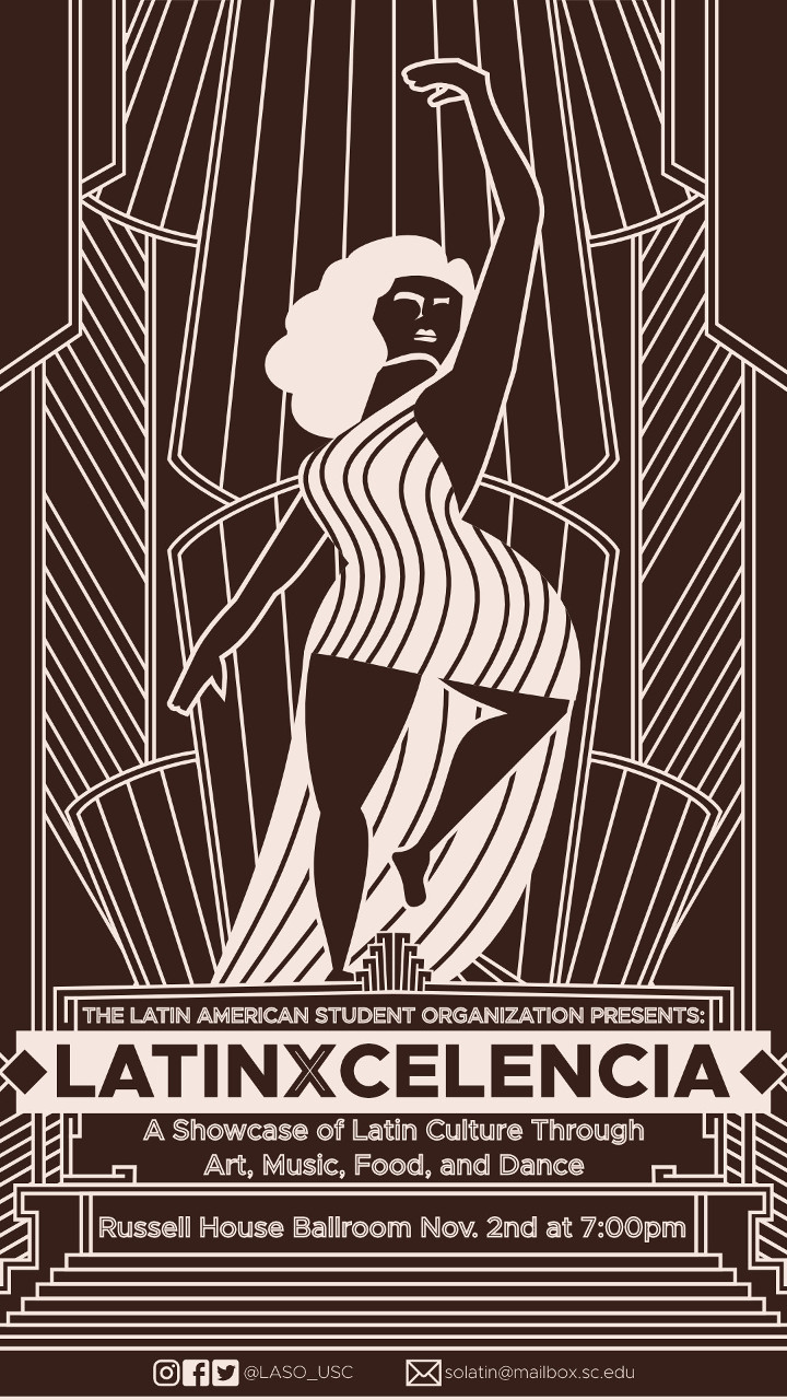 "Art deco poster of a woman standing on top of a mesoamerican pyramid promoting an event called ""Latinxcelencia"""