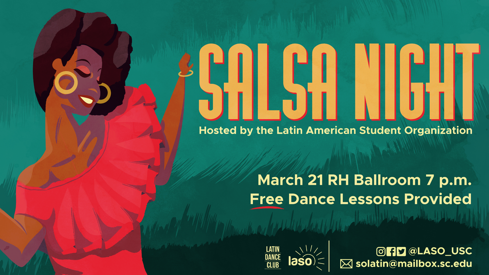 "Poster of a dancing woman in a red dress against a green background promoting an event called ""Salsa Night"""
