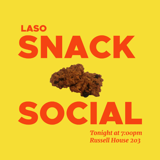 "A cookie against a yellow background with between red text reading ""Snack Social"""