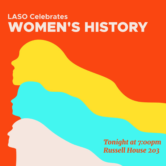 "Three woman poised stoica;ly with the text ""LASO Celebrates Women's History Month"""